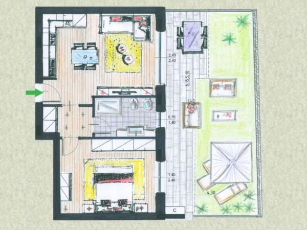 Appartamento in vendita a Cassano d'Adda, Cimbardi, Con giardino, 63 mq