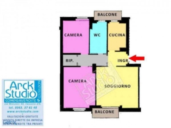 Appartamento in vendita a Cassano d'Adda, Arredato, con giardino, 90 mq - Foto 2
