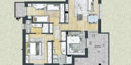 Appartamento in vendita a Cassano d'Adda, Cimbardi, Con giardino, 107 mq