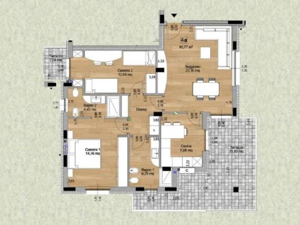 Appartamento in vendita a Cassano d'Adda, Cimbardi, Con giardino, 107 mq - Foto 4