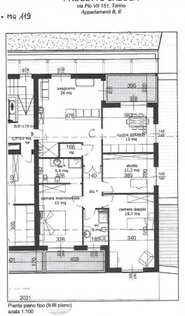 Appartamento in vendita a Torino, Mirafiori, Con giardino, 94 mq - Foto 5