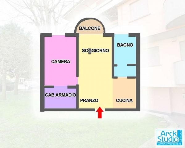Appartamento in vendita a Cassano d'Adda, Coop, Arredato, con giardino, 65 mq - Foto 2