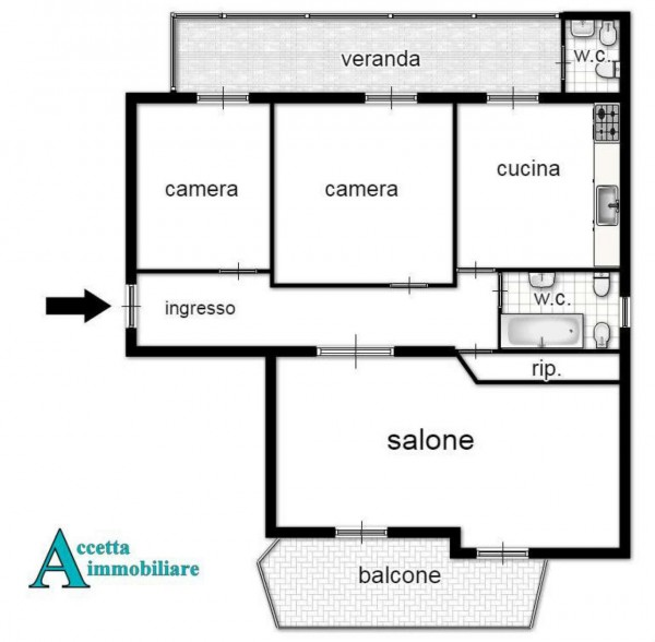 Appartamento in vendita a Taranto, Semi-centrale, 123 mq - Foto 2