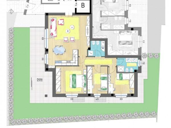 Appartamento in vendita a Cassano d'Adda, Groppello, Con giardino, 63 mq - Foto 5