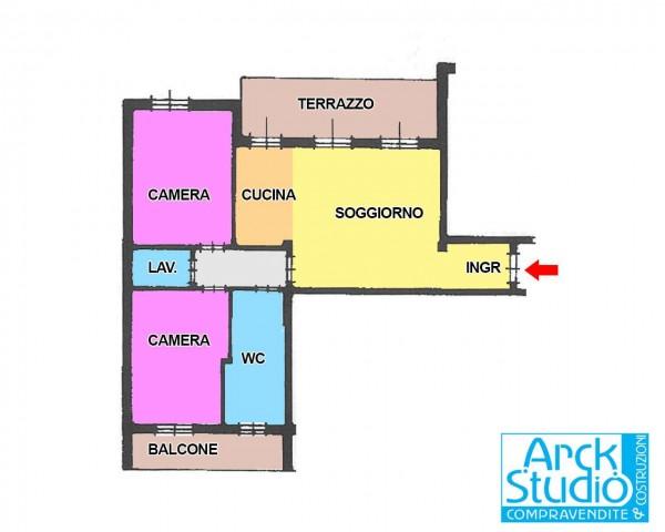Appartamento in vendita a Cassano d'Adda, Cristo Risorto, Con giardino, 94 mq - Foto 2
