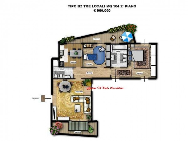 Appartamento in vendita a Milano, Moscova, Con giardino, 104 mq - Foto 2
