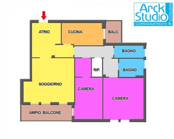 Appartamento in vendita a Inzago, Naviglio, Con giardino, 116 mq - Foto 19