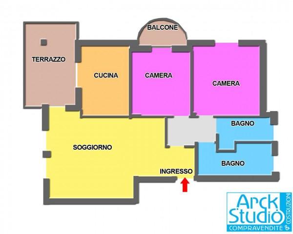 Appartamento in vendita a Cassano d'Adda, Vallette, Con giardino, 110 mq - Foto 2