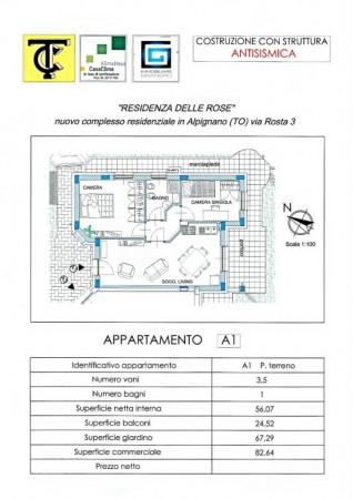 Appartamento in vendita a Alpignano, Semicentrale, Con giardino, 83 mq - Foto 2