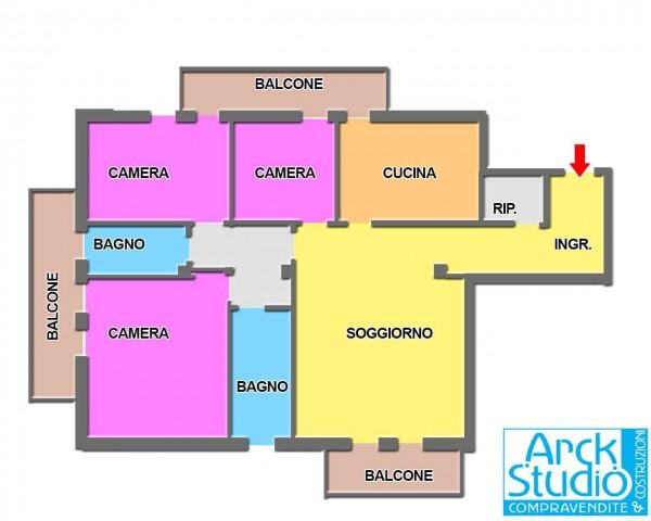 Appartamento in vendita a Cassano d'Adda, Mercato, Con giardino, 118 mq - Foto 2
