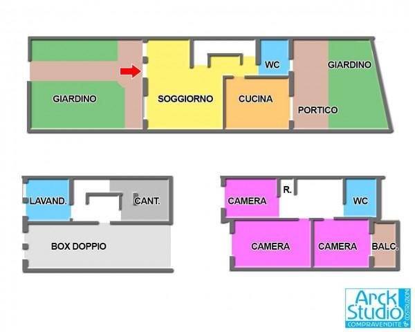 Villetta a schiera in vendita a Cassano d'Adda, Con giardino, 175 mq - Foto 3