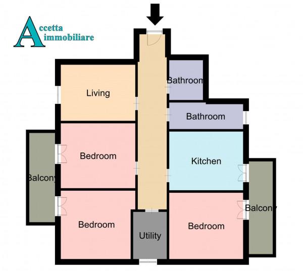 Appartamento in vendita a Taranto, Rione Italia, Montegranaro, 139 mq - Foto 2