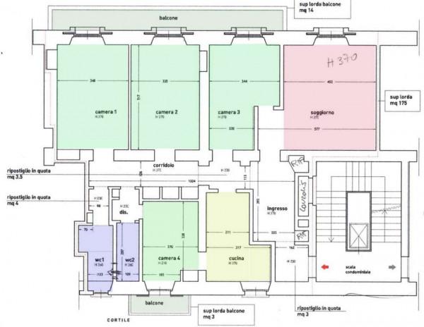 Appartamento in vendita a Milano, Porta Vercellina, 187 mq - Foto 2